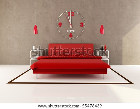 red bedroom with big clock on wall - rendering