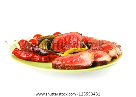 red beef slices on green dish with peppers