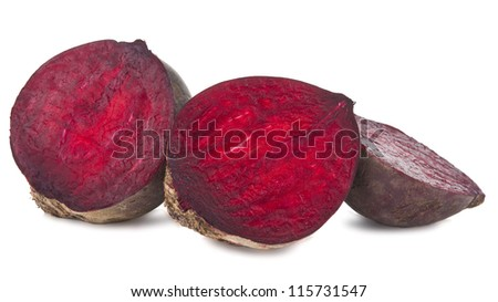 Red beet isolated on white background