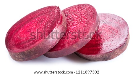 Red beet or beetroot slices on white background.