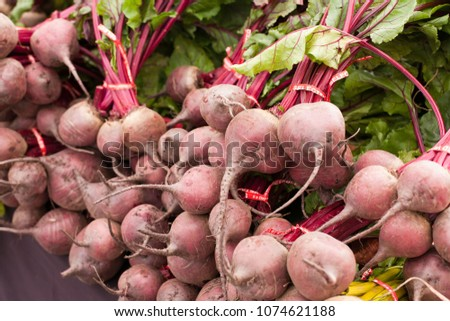 Red beets at farmer's market