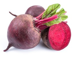 Red beets or beetroots on white background.