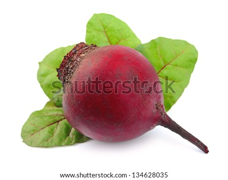 red beets with leafs on white background