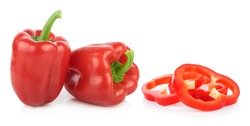 red Bell pepper on white background