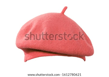 red beret French side view. isolated on white background