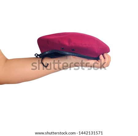 Red beret hat on isolate background.