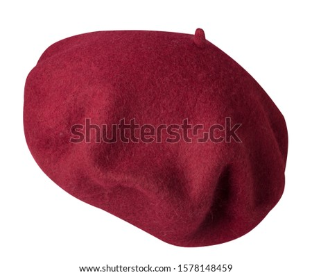 red beret isolated on white background. hat female beret .