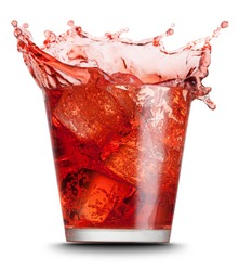 red beverage splashed on isolated on white background