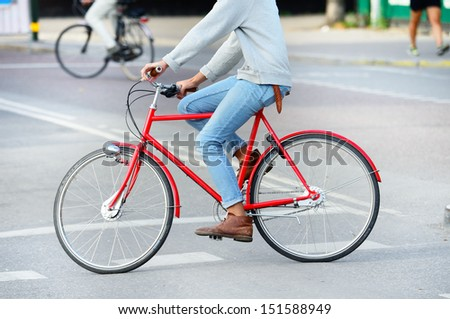 Red bicycle in profile