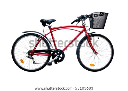 Red bicycle isolated on pure white background