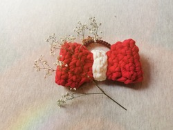 Red​ Big​ Bow​ crocheted hair​ rubber​ band