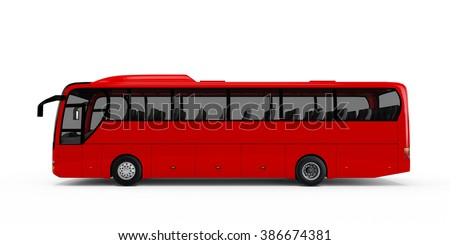 Red big tour bus isolated on white background