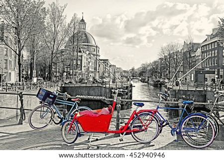 red bike with baby cargo cart...