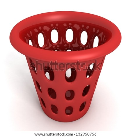 red bin on white background
