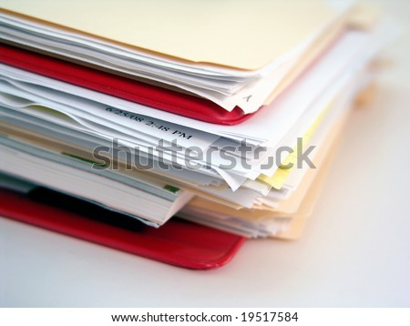 red binder and file folder