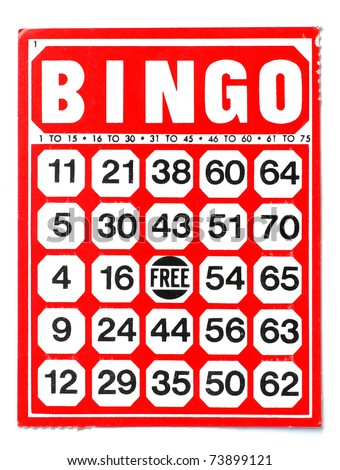Red bingo card on white background