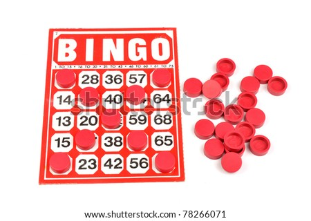 Red bingo card with winning chips