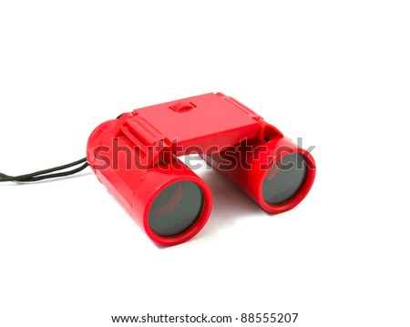 Red Binoculars Isolated on white background