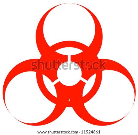 red biohazard warning sign or logo on white