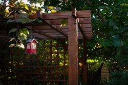red bird feeder hanging on the garden gazebo