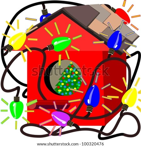 Red birdhouse with Christmas lights.  Illustration of a red birdhouse that is decorated with Christmas lights. A Christmas tree is decorated inside.