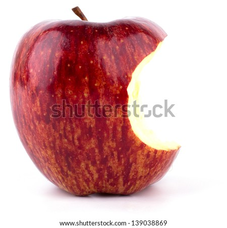 Red bitten apple isolated on white background