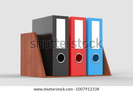 Red,Black and Blue office folder with wooden shelf on light grey background, 3d illustration.