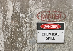 red, black and white Danger, Chemical Spill warning sign