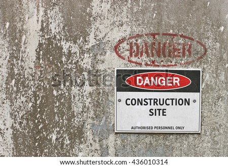 red, black and white Danger, Construction Site warning sign