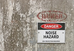 red, black and white Danger, Noise Hazard warning sign