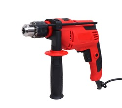 red-black impact drill isolated on white background