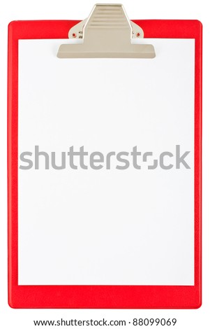 Red blank clipboard isolated on white background