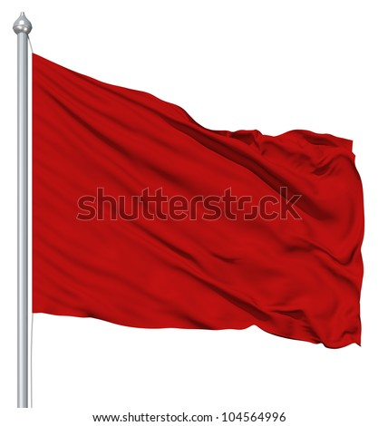 Red blank flag with flagpole waving in the wind against white background