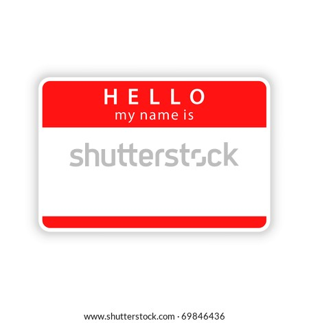 Red blank name tag sticker with shadow on white background. Bitmap copy my vector ID: 55164091