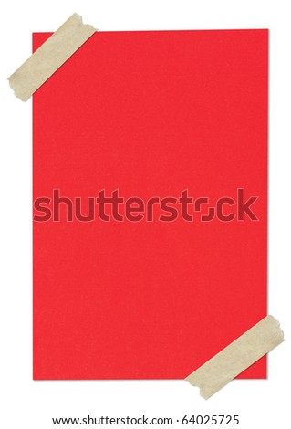 Red blank paper stuck with brown tape
