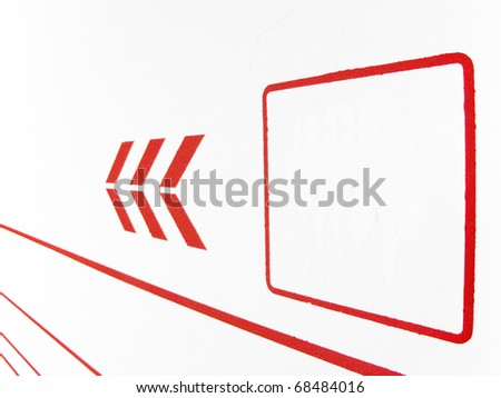 Red blank square and arrows pointing in a direction
