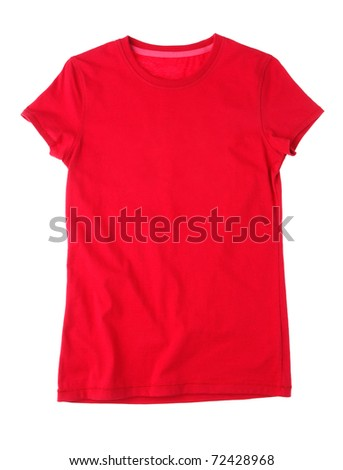 Red blank t-shirt for drawing picture, printing wording or photo on front and back