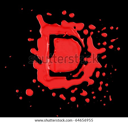Red Blob D Letter Over Black Background. Large Resolution Stock Photo ...