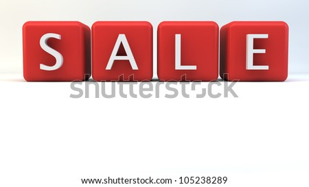 "Red blocks with ""SALE"" wording"