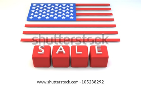 "Red blocks with ""SALE"" wording and USA flag in block style in background"