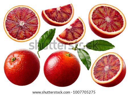 Red blood orange fruit slices set isolated on white background as package design elements #1007705275