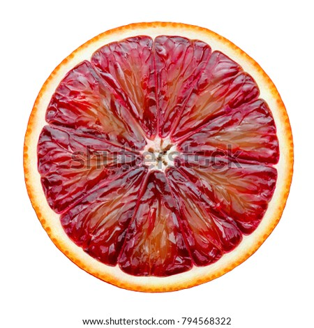 Red blood orange slice isolated on white background as package design element #794568322