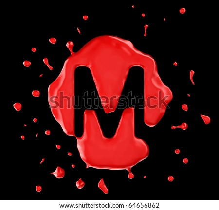 Letter m Logo Red Red Blot m Letter Over Black