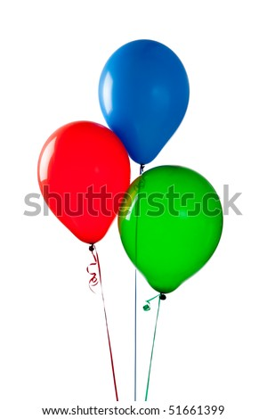 Red, blue and green balloons on a white background