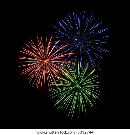 Red, Blue, And Green Fireworks Stock Photo 3832744 ...