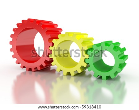 red, blue and green large industrial gears on a white
