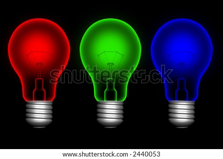 Red, blue and green lightbulbs on black background