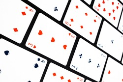 Red, blue and white playing cards