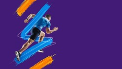 Red, blue and yellow lines, stripes. Sportive athletic man, runner training isolated in neon light on blue background. Art collage. Watercolor paints. Concept of sport, game, action. Copy space for ad