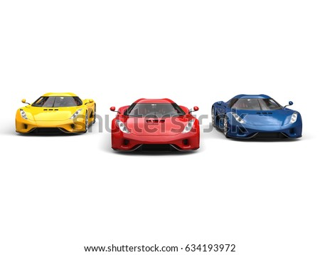 Red, blue and yellow super cars racing - front view - 3D Illustration #634193972